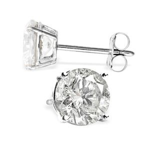 GOLD STUD EARRINGS WITH 1.50 CT. NATURAL DIAMONDS